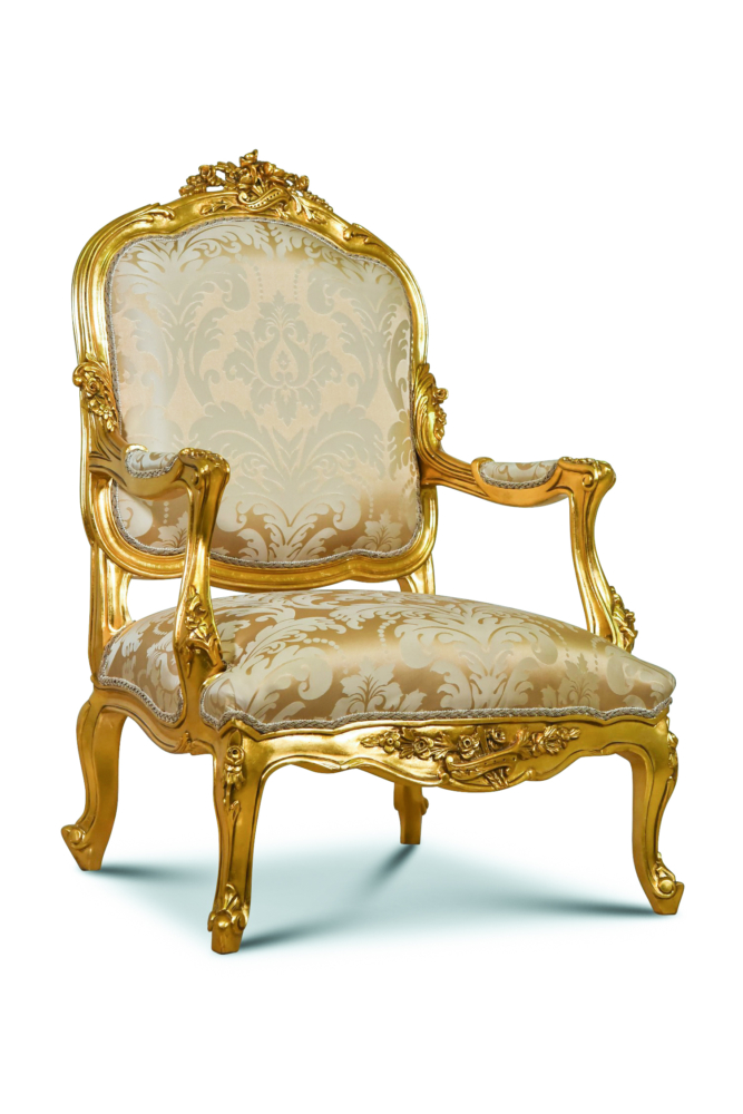 MADE TO ORDER / Muier noir, French Style, Giltwood, Floral Silk Upholstery, Armchair (Set of 2)