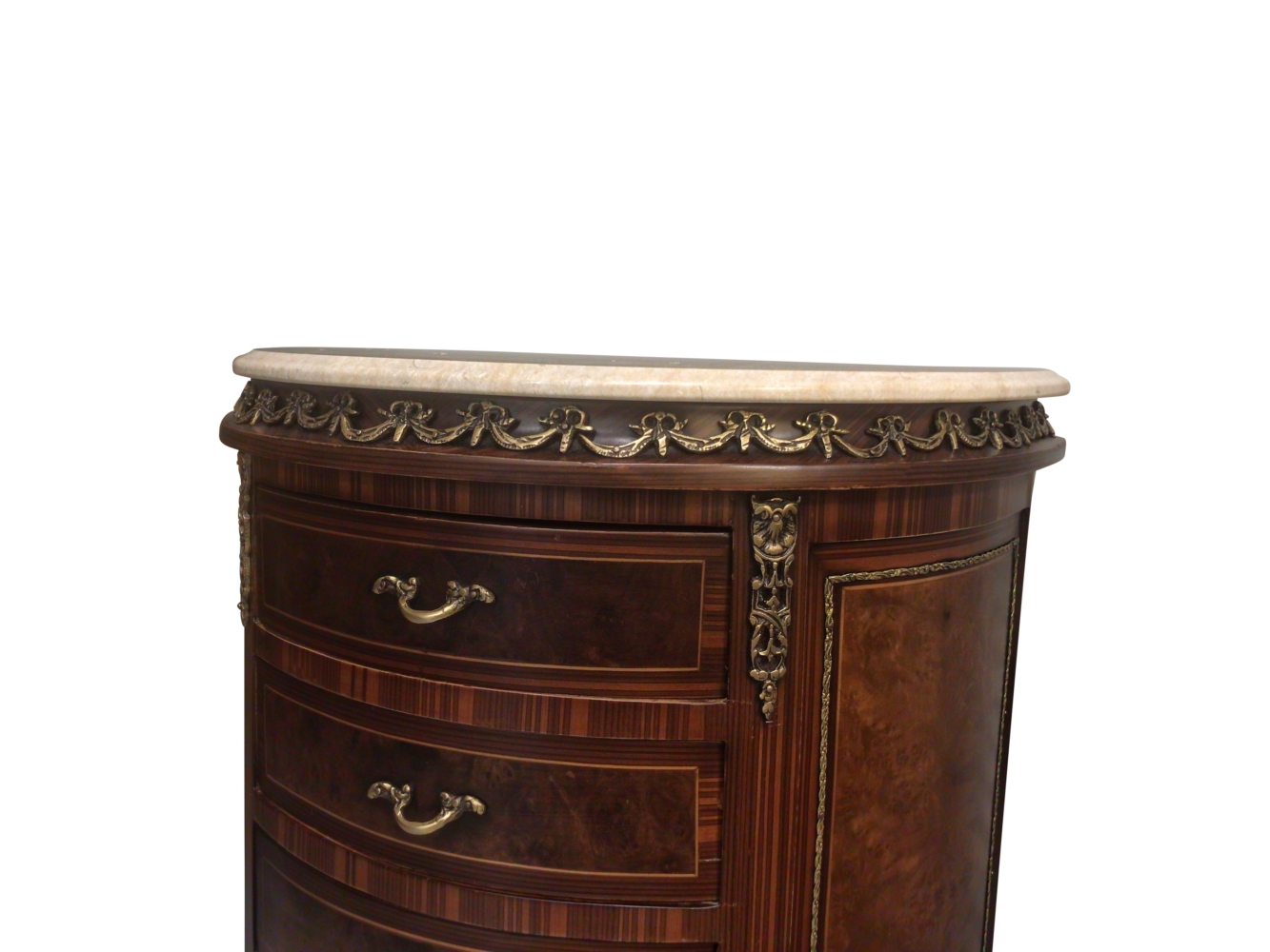 Anémone, French Style , Marble Top, Soild Brass , Accent Chest
