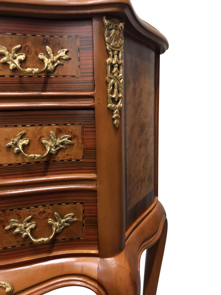 Grenadille bleue, French Style , Fruitwood Venner, Solid Brass , Commode