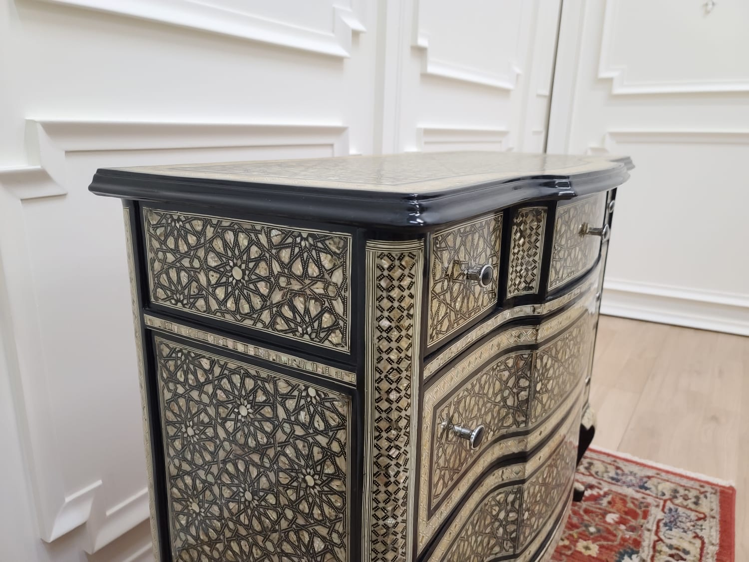 Muier noir, Moroccan Style , Mother Of Pearl Inlay, Chest of Drawers