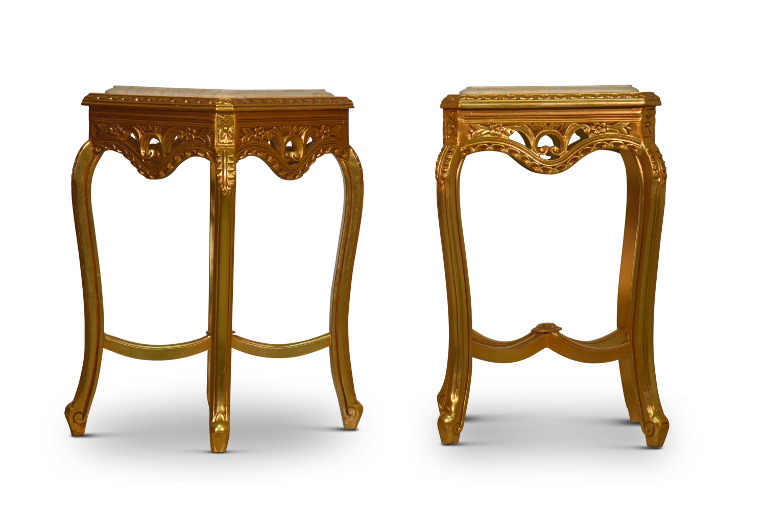 Staticé French Style Hand Carved 24k Gold Leaf Marble Top Side Table Set