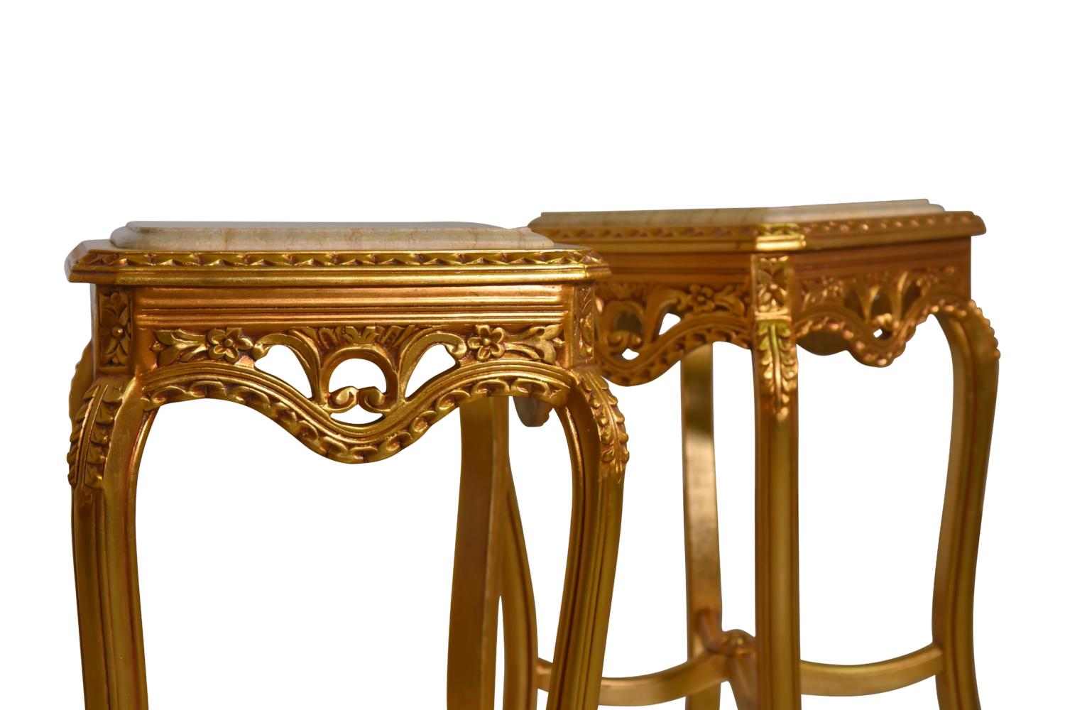 Staticé, French Style, Hand Carved ,24K  Gold Leaf, Marble Top , Side Table Set
