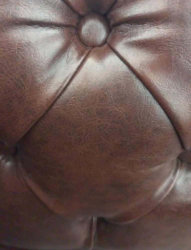 English Style, Hand Made, Tufted Chocolate Brown Leatherette , Chesterfield Sofa