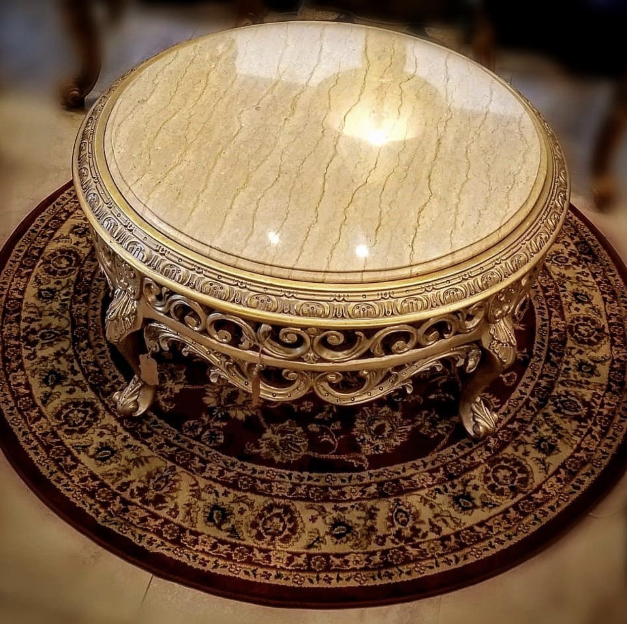 French Style , 24k Gold leaf , Marble Top ,Living Room's Table