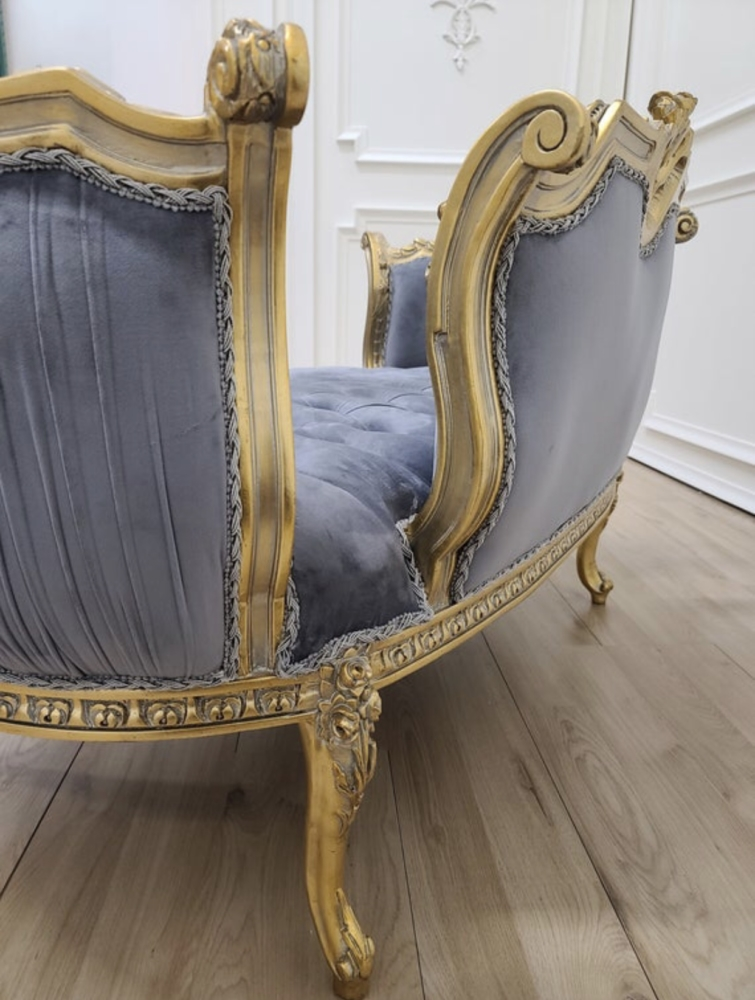 MADE TO ORDER / French Settee/ Luxurious Gold Leaf/ Tufted Lavender Velvet/ Solid Wood/ Hand Carved Frame