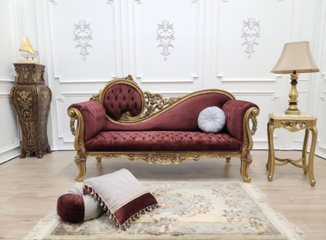 MADE TO ORDER/ Victorian Chaise Lounge/Gold Leaf Hand/Carved Frame/Tufted Maroon Velvet, Chaise Lounge
