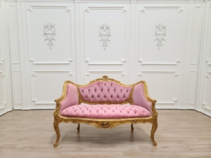 MADE TO ORDER / French Settee/ Gold Leaf Finish Frame/ Hand Carved Wood/ Tufted Pink Velvet
