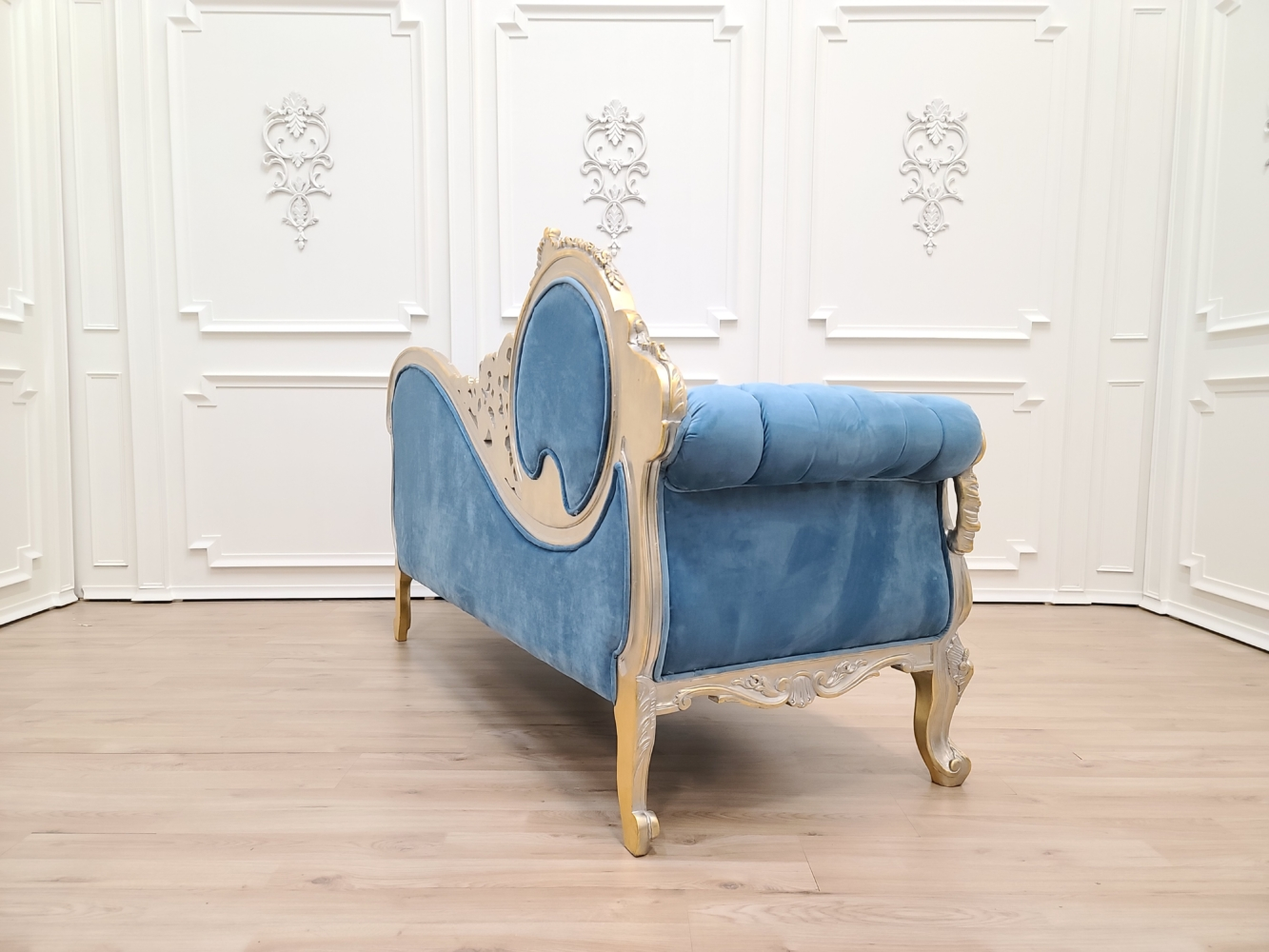 Victorian Sofa/Powdered Gold Leaf Hand Carved Wood Frame /Tufted Blue Velvet/Chaise Lounge