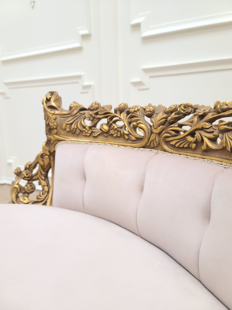 MADE TO ORDER / French Settee/ Aged Gold Leafed Hand Carved Wood Frame / Pale Pink Tufted Velvet