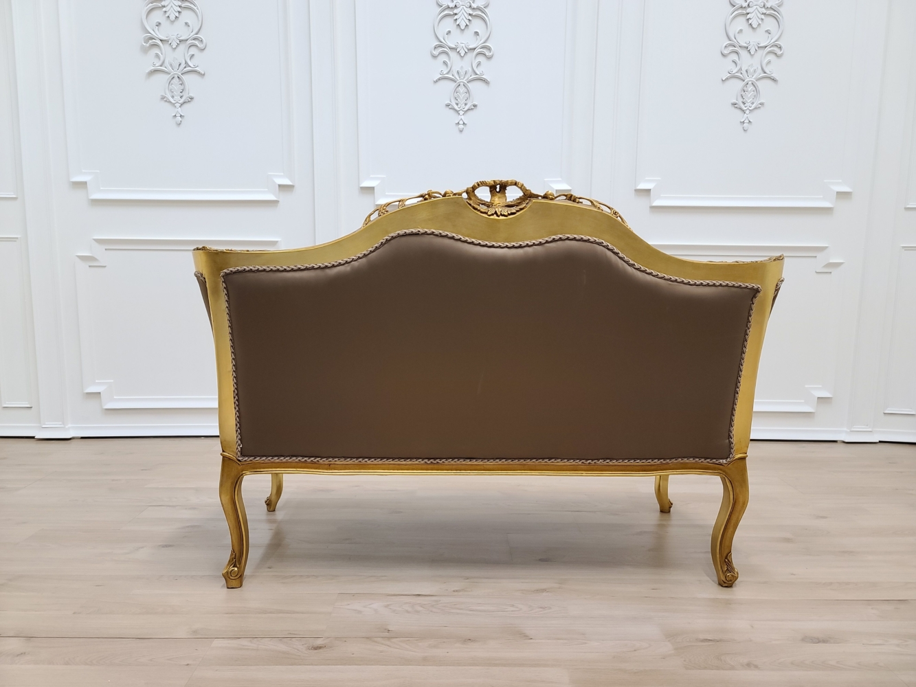 French Loveseat/ Gold Leaf Hand/ Carved Wood Frame/ Tufted Peanut Brown Satin Upholstered