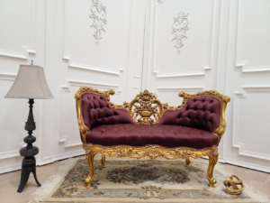 MADE TO ORDER/ French Settee/ Gold Leaf Frame/ Hand Carved Wood Frame/ Tufted Burgundy Satin Upholstered