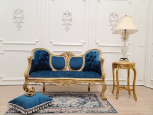 MADE TO ORDER / French Settee/ Gold Leaf Frame/ Hand Carved Wood Frame/ Tufted Prussian Blue Velvet
