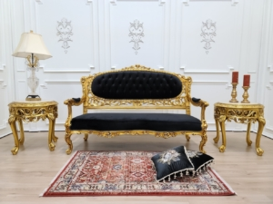 Victorian Sofa/ Antique Gold Leaf Finish Frame/ Tufted Black Velvet/ Hand Carved Wood Frame