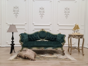 MADE TO ORDER / French Settee/ Gold Leaf Frame/ Dark Green Finish/ Tufted Sacramento Green Velvet/ Hand Carved Wooden Frame