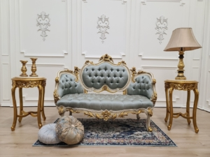 MADE TO ORDER / French Settee/ Ivory with Gold Leaf Accent/ Tufted Embroidered Light Blue Silk Upholstered/Hand Carved Wooden Frame