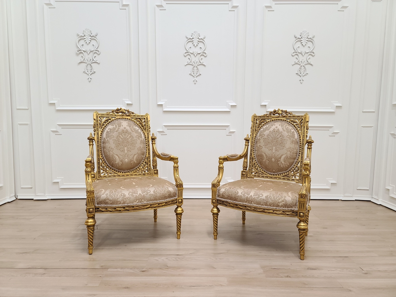 MADE TO ORDER / Pair of Louis XVI Style/24k Gold Leaf Hand Carved WoodFrame/ Tan Hand Embroidered Silk Fabric/Armchair