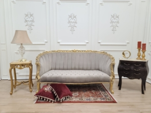 MADE TO ORDER French Settee/ Powdered 24k Gold Leaf/ Hand Carved Frame/ Light Taupe Tufted Velvet