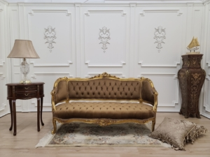 MADE TO ORDER / French Settee/Antique Gold Leaf Finish/ Hand Carved Beech Wood Frame/ Cinnamon Brown Tufted Velvet