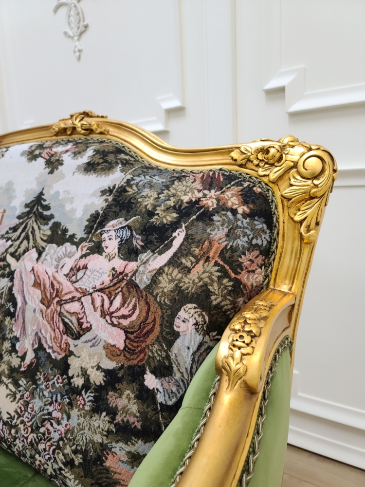 MADE TO ORDER / 17th century French Sofa/ 21K Gold Leaf Hand Carved Frame/ French Pictorial Toile/ Tufted Pistachio Green Velvet