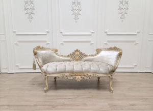 MADE TO ORDER /French Settee / Hand Carved wood Frame  / Vintage  Finish Gold Leaf Accent /Tufted Light Taupe Velvet Upholstered