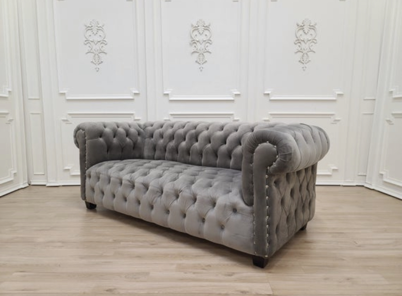Salicaire, English Style , Monorail Silver Velvet , Chesterfield Sofa