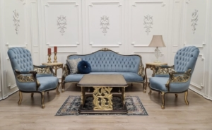 Made To Order /  Modern French Style/ 24K Gold Leaf Hand Carved Wood Frame/ Tufted Blue Velvet/Living Room Set