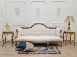 Private listing / French Art Deco Sofa/ 24K Gold Leaf with Rose Gold Finish/Hand Carved Wood Frame/ Tufted Pearl velvet Upholstered