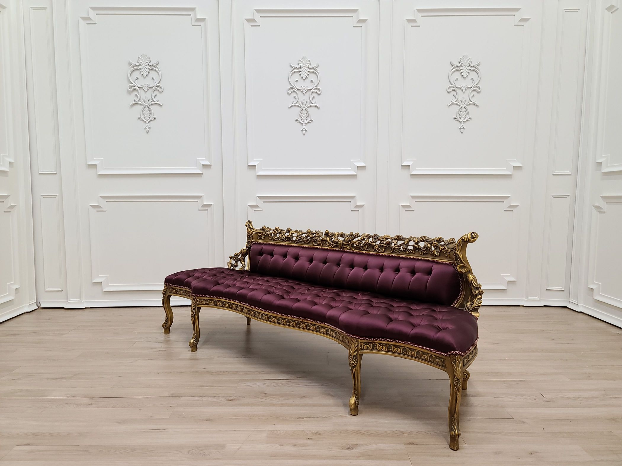 MADE TO ORDER / French Settee/ 24k Aged Gold Leaf and Hand Carved Wood Frame/ Tufted Maroon Satin Fabric