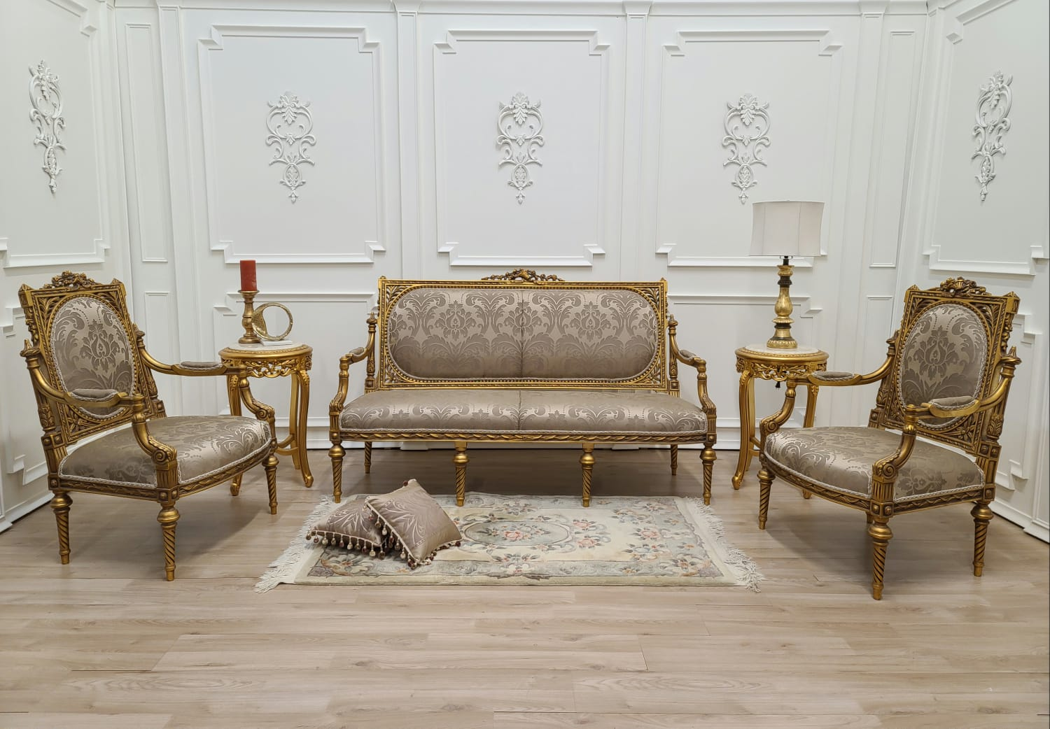 Made To Order / Louis XVI Style/ 24k Gold Leaf Hand Carved Wood / Taupe silk / Living Room Set