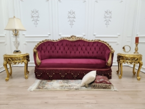 French Sofa Art Deco / Aged Gold Leaf/Hand Carved Wooden Frame/ Tufted Maroon Velvet Upholstered