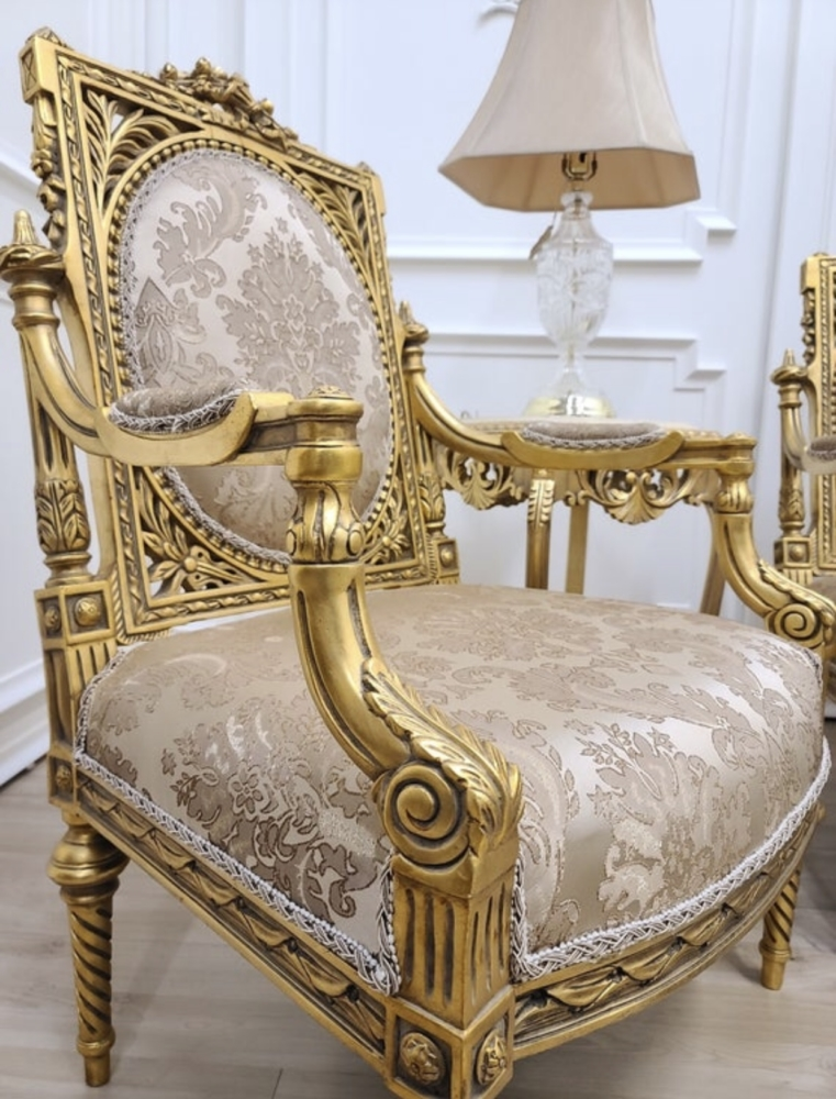 Louis XVI Style/24k Gold Leaf Hand Carved WoodFrame/ Tan Hand Embroidered Silk Fabric/ Living Room Set