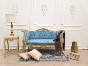 French Settee/ 24k Aged Gold Leaf/ Blue Velvet/ Hand Carved Wood Frame