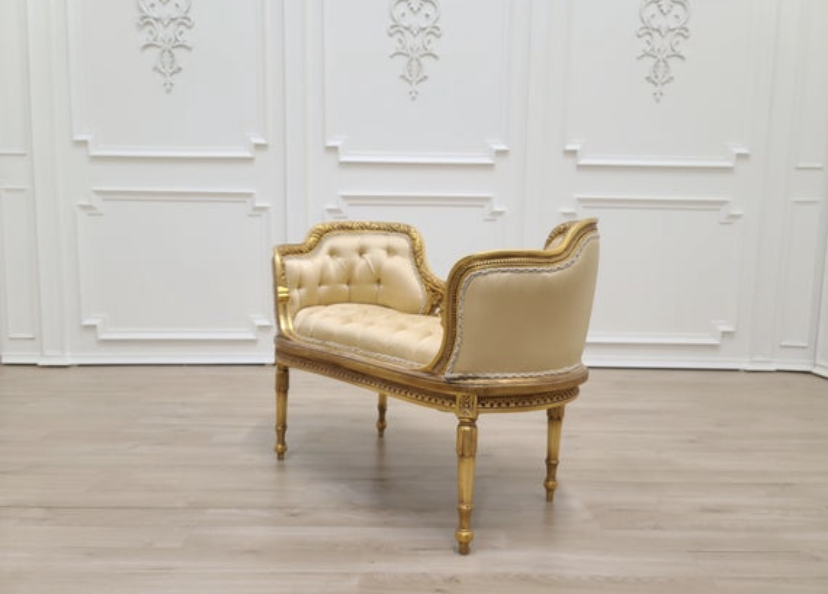 MADE TO ORDER / French Style Settee/ 21K Gold Leaf Hand Carved Wood Frame/ Tufted Gold Satin Upholstered