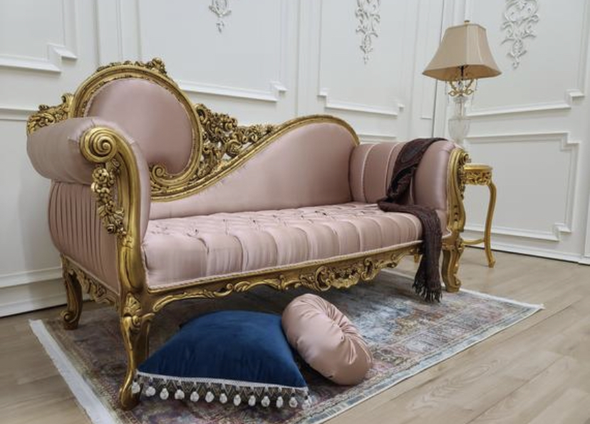 MADE TO ORDER / Victorian Chaise Lounge/Gold Leaf Hand Carved Frame/Tufted Rose Satin