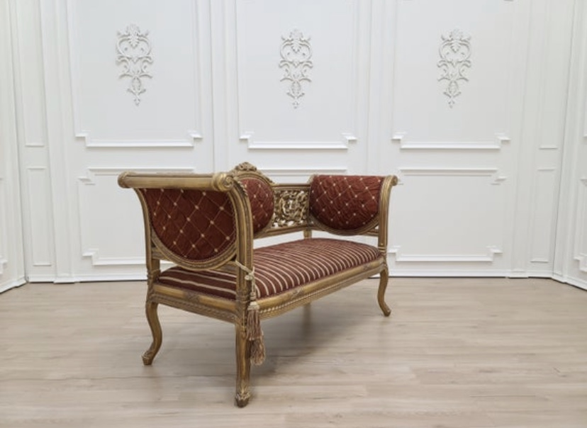 MADE TO ORDER / French Style Settee/ Aged 21K Gold Leaf Hand Carved Wooden Frame / Patterned Ruby Red Silk Fabric
