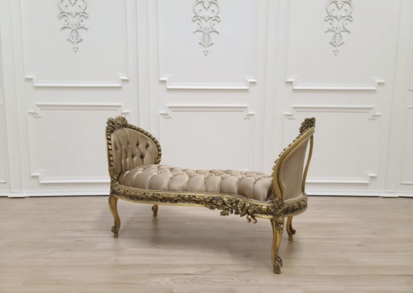 MADE TO ORDER / 19th Century French Chaise Lounge/ Aged Gold Leaf Hand Carved Wood Frame/ Tufted Light Brown Satin Upholstered