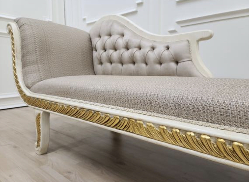MADE TO ORDER / French Art Deco Chaise Lounge/ Shabby Chic Ivory with Gold Leaf Accent/ Tan Linen Fabric / Tufted Velvet Back