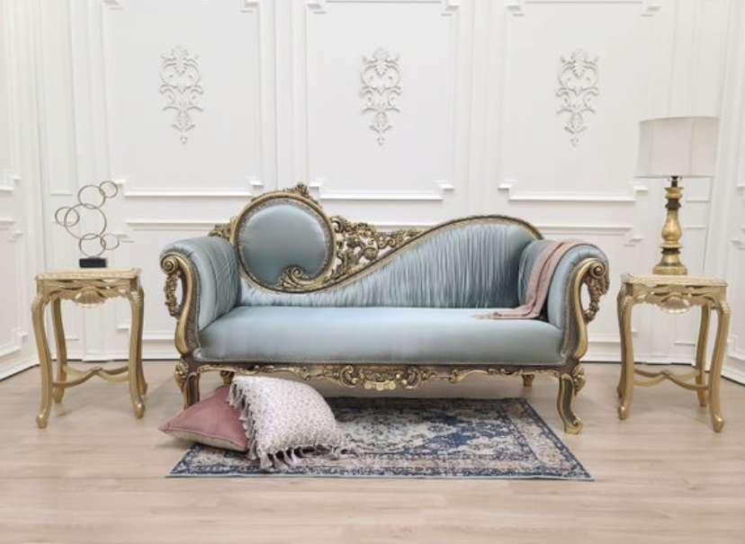 MADE TO ORDER / Victorian Sofa/Aged 24k Gold Leaf Hand Carved Wood Frame /Pale Turquoise Satin Silk /Chaise Lounge