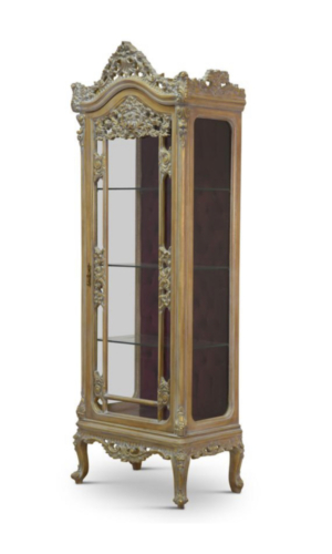 Custom made order : Pair of  French style , 24k gold leaf , hand carved wooden frame , curio cabinet