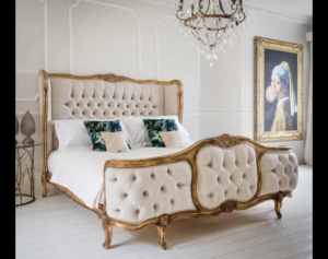 Custom Made : French Style , 24K Aged Gold Leaf , Hand Carved King Size Bed Frame.