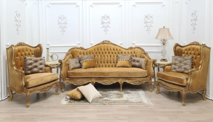 Victorian Style Living Room Set, 24K Gold Leaf Hand Carved Wood Frame/ Tufted Apricot Velvet Fabric