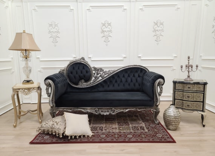 MADE TO ORDER /  Victorian Sofa/Silver Leaf , Hand Carved Wood Frame /Tufted Black Velvet/ Chaise Lounge