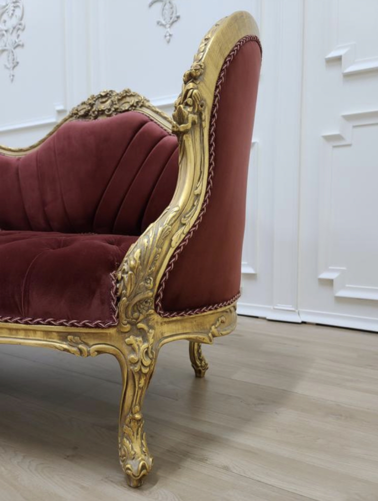 Made To Order / Baroque Throne Sofa / Aged Gold Leaf Finish /Hand Carved Wooden Frame/ Tufted Currant Red Velvet Upholstered