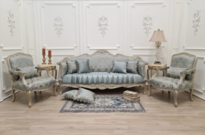 Made to Order / French Style , 24k Gold Leaf Hand Carved Wood , Sky Blue Damask Silk , Living room set
