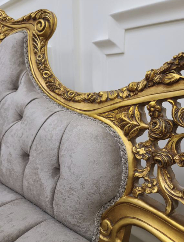 Made To Order / Louis XVI Style Living Room Set / 24K Aged Gold Leaf Hand Carved Frame /Tufted Cloudy Gray Patterned  Velvet