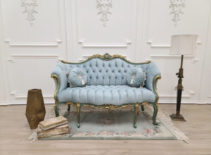 Made To Order / French Settee/ Teal Green and Gold Leaf Accent Frame/ Hand Carved Wood Frame/ Tufted Sky Blue Velvet