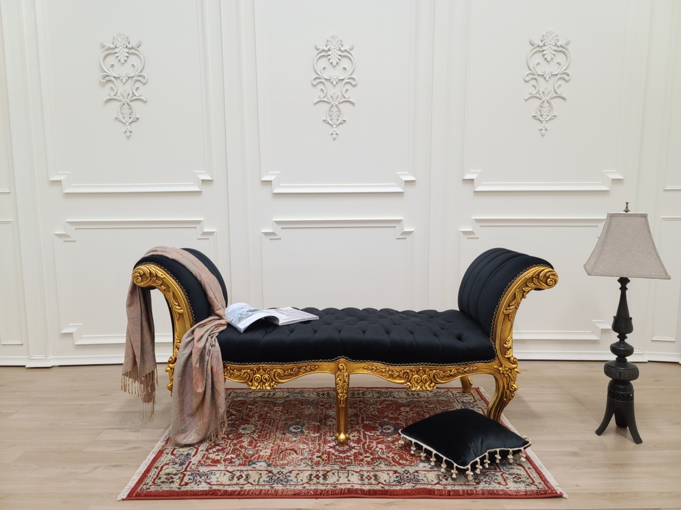 Made To Order / French Style Chaise Lounge/ Antique Gold Leaf Finish/Hand Carved Wood Frame/ Tufted Black Velvet