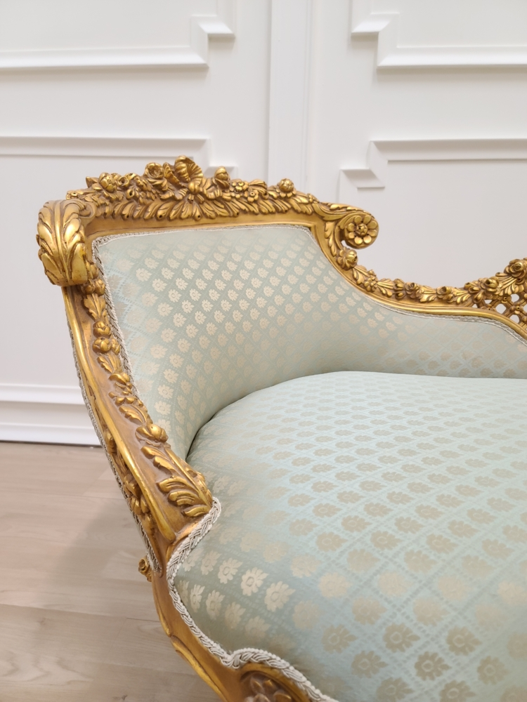 Made To Order / French Style Settee- 24K Gold Leaf Wood Hand Carved Frame - Turquoise green Damask Silk