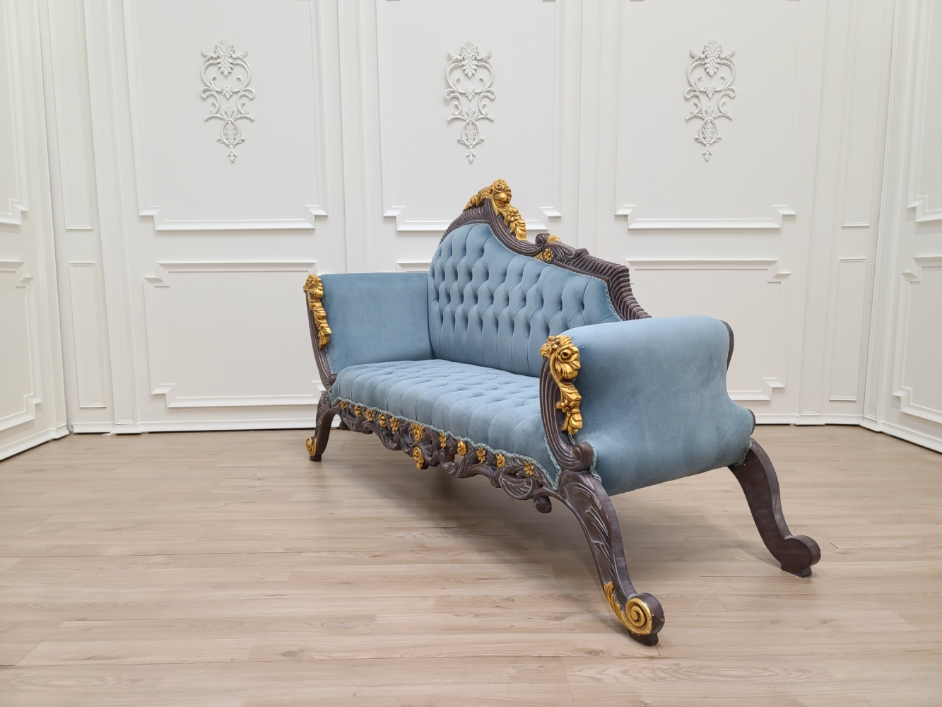 Made To Order / Victorian Style Chaise Lounge / Vintage Wood Finish/ Gold Leaf Accent / Hand Carved Wood Frame/ Tufted Light Blue Velvet Upholstered
