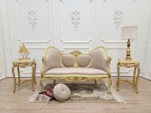 French Style Settee / 21K Gold Leaf Accent/ Hand Carved Wooden Frame/ Tufted Pale Rose Velvet Upholstered